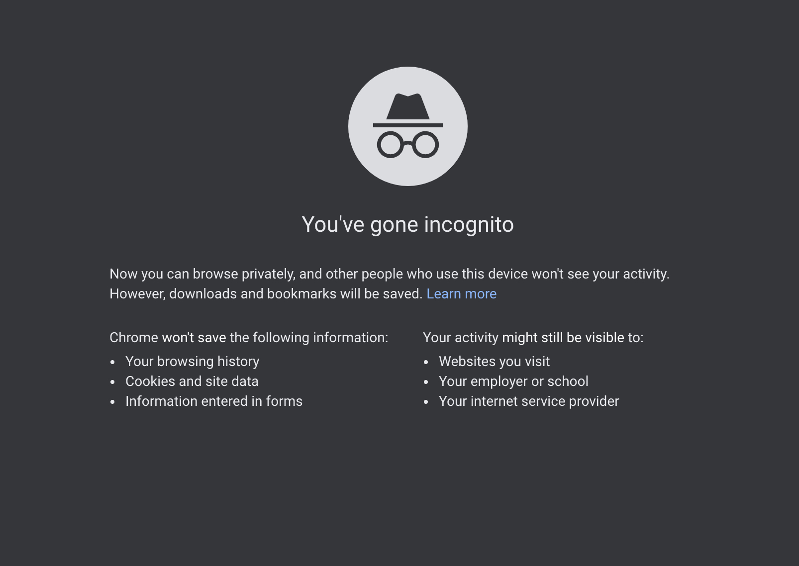 Incognito Mode on Chrome