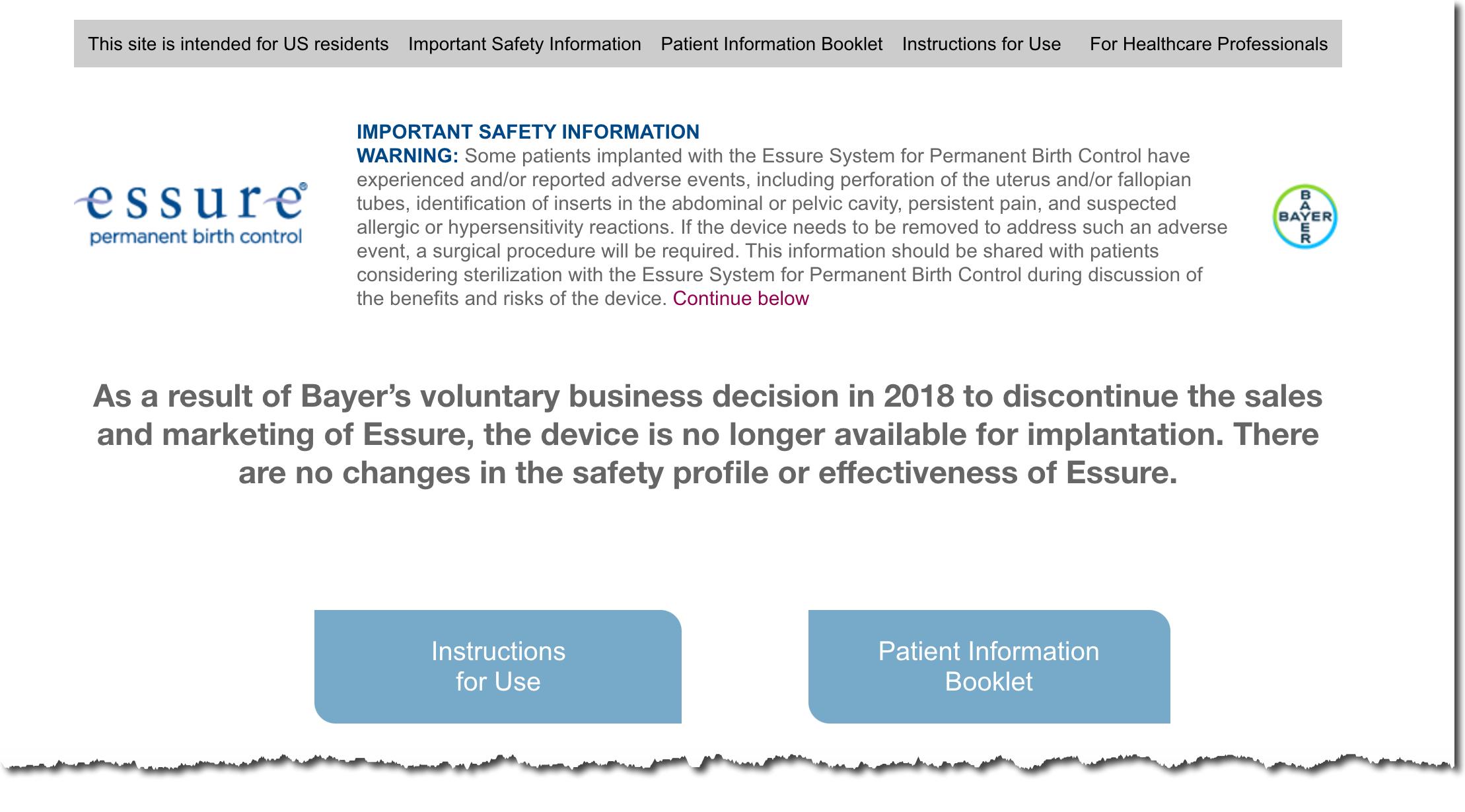 Essure Homepage