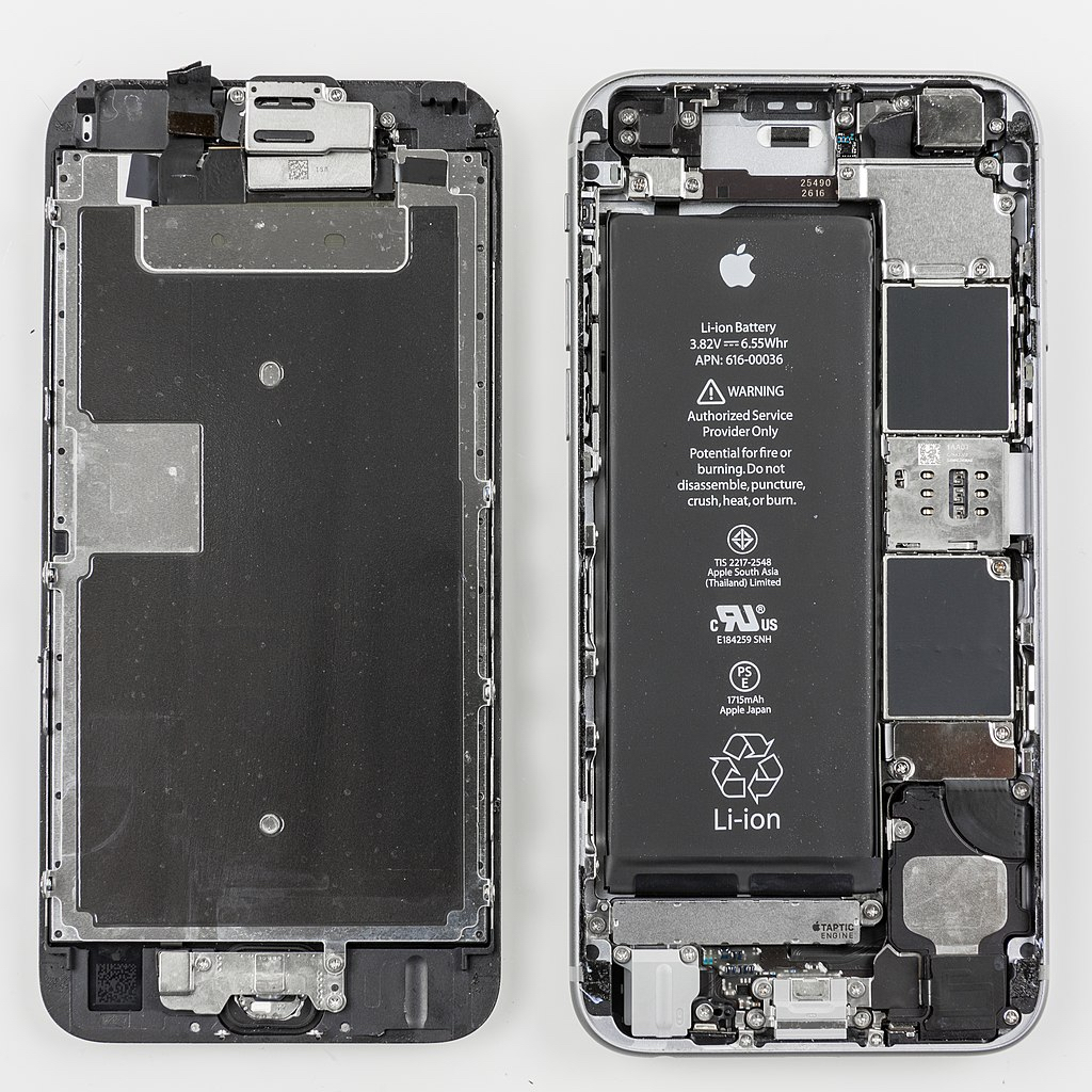 Apple iPhone 6 opened to expose battery.